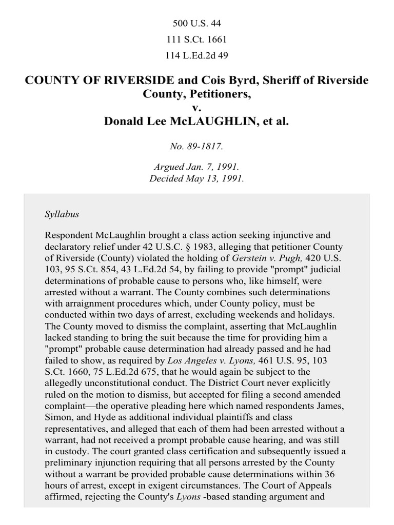 riverside county v. mclaughlin essay Riverside county — within the inland empire and greater los angeles area, of southern california.