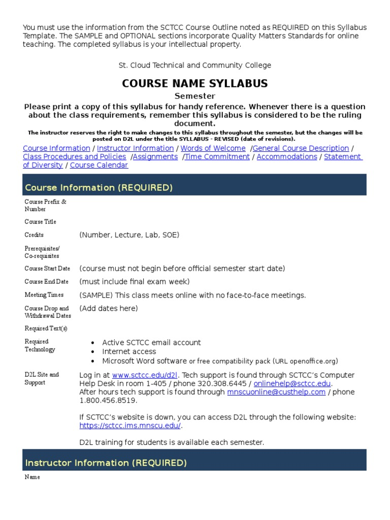 Online Syllabus Template Aasc Approved Docshare