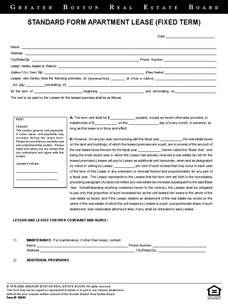 Greater Boston Real Estate Board Standard Form Apartment Lease
