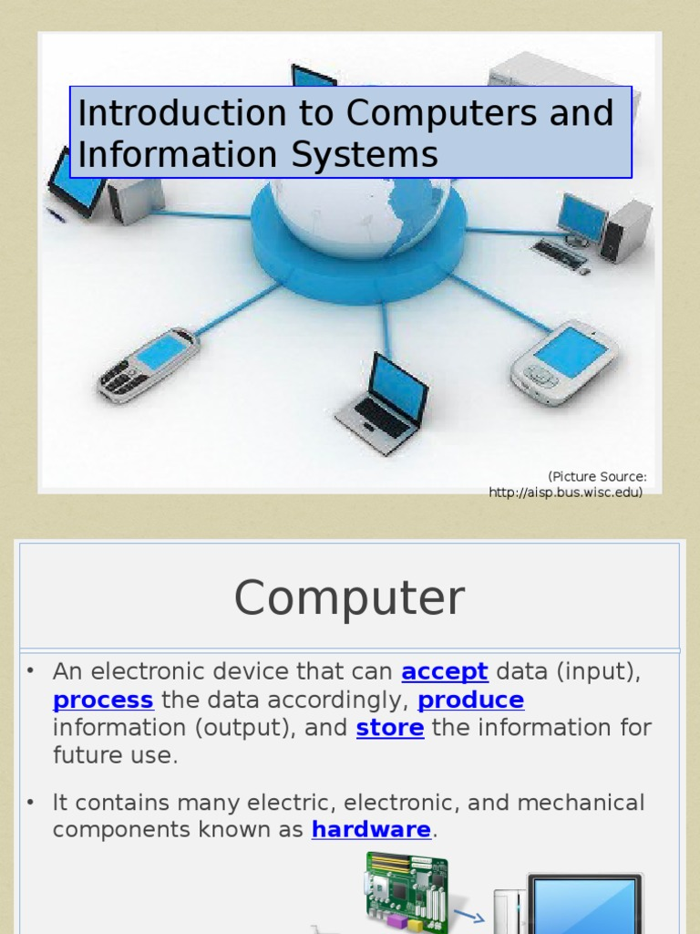 introduction to computers Chapter 1 — introduction to computer systems a computer is a complex system consisting of both hardware and software components.