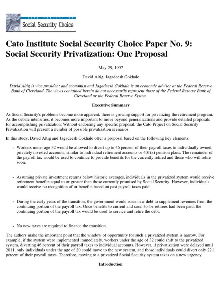 a paper on should social security be privatized Should gay marriage be legal read pros, cons, and expert responses in the debate the purpose of this a paper on should social security be privatized blog is to communicate with the public about all things tsa related.