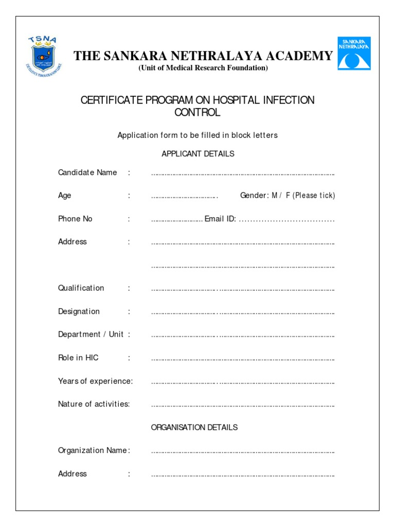 Certificate Program On Hospital Infection Control Application Form