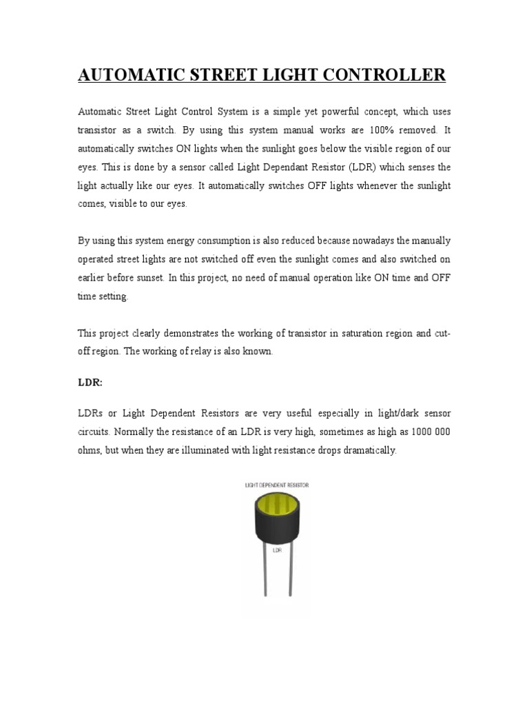 Automatic Street Light Controller Relay Ldr Circuit