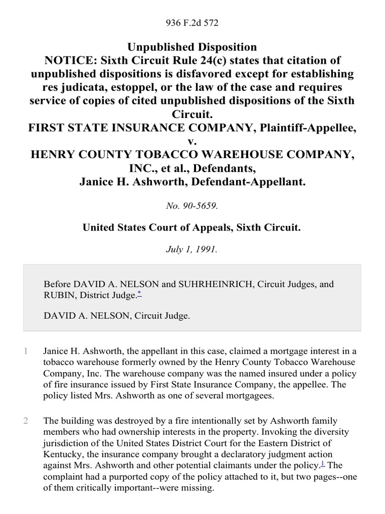 warehouse manager or warehouse supervisor docshare tips first state insurance company v henry county tobacco warehouse company inc janice h ashworth 936 f 2d 572 1st cir 1991