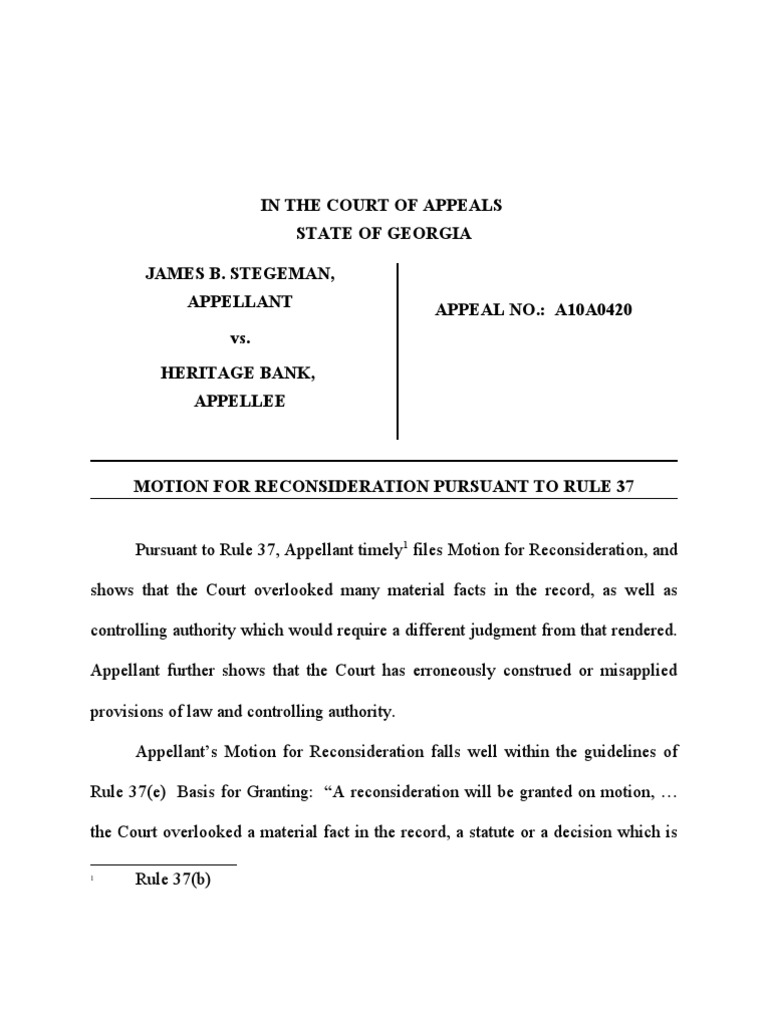 In Georgia Court Of Appeals Motion For Reconsideration