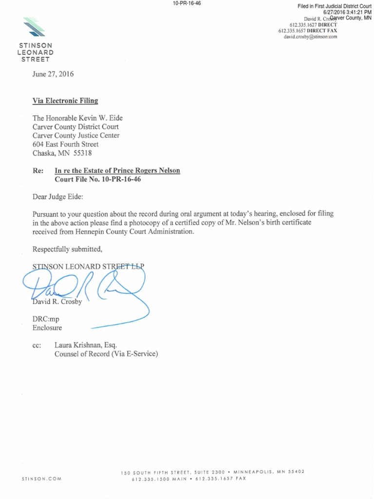 Download Special Administrators Letter To Judge With Copy Of