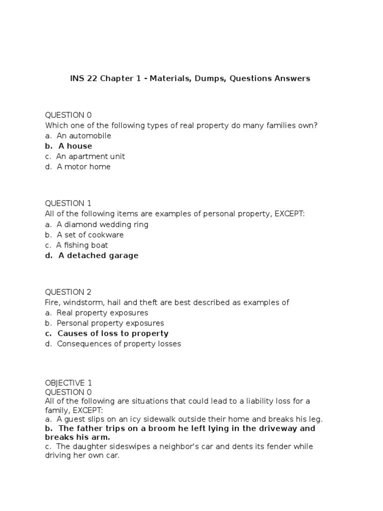 INS 22 Chapter 1 2 3 4 With Answers - DocShare tips