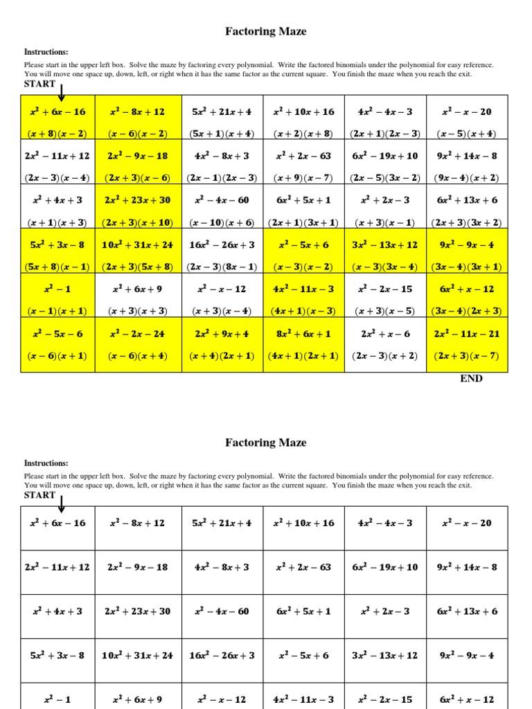 factoring maze Factoring Maze - DocShare.tips