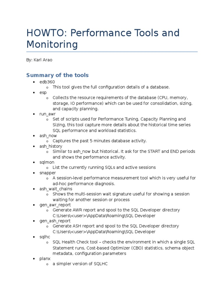 Performance Tools and Monitoring - DocShare tips