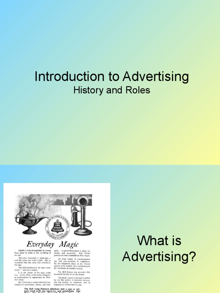 an introduction to the advertisements