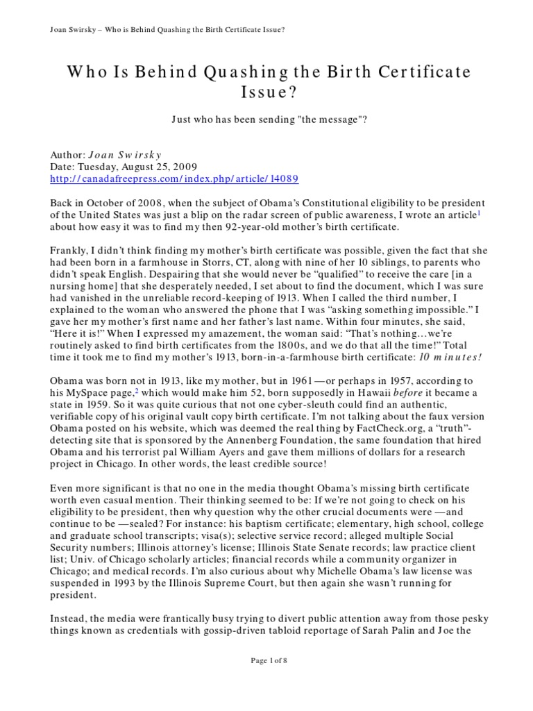 Download Joan Swirsky Who Is Behind Quashing The Birth Certificate