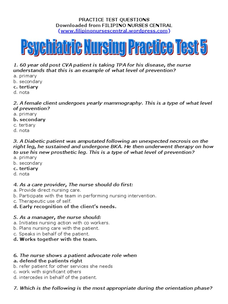 Psychiatric Nursing Practice Test 5 - DocShare tips
