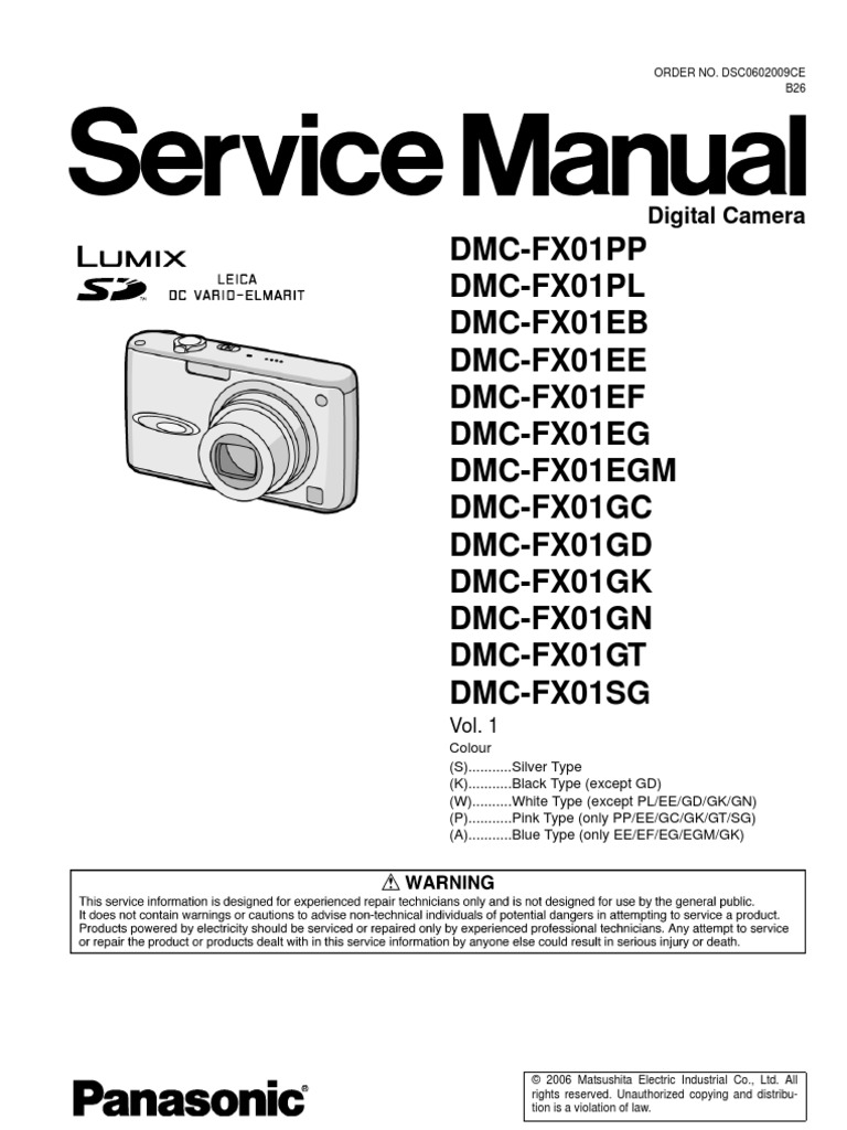 Panasonic Lumix Dmc-Fx01 Series Service Manual Repair Guide
