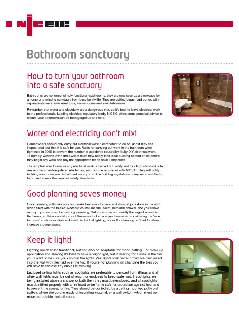 Niceic Bathroom Safety Tips How To Turn Your Into A Safe Shower Rcd Wiring Diagram Electric An Sanctuary
