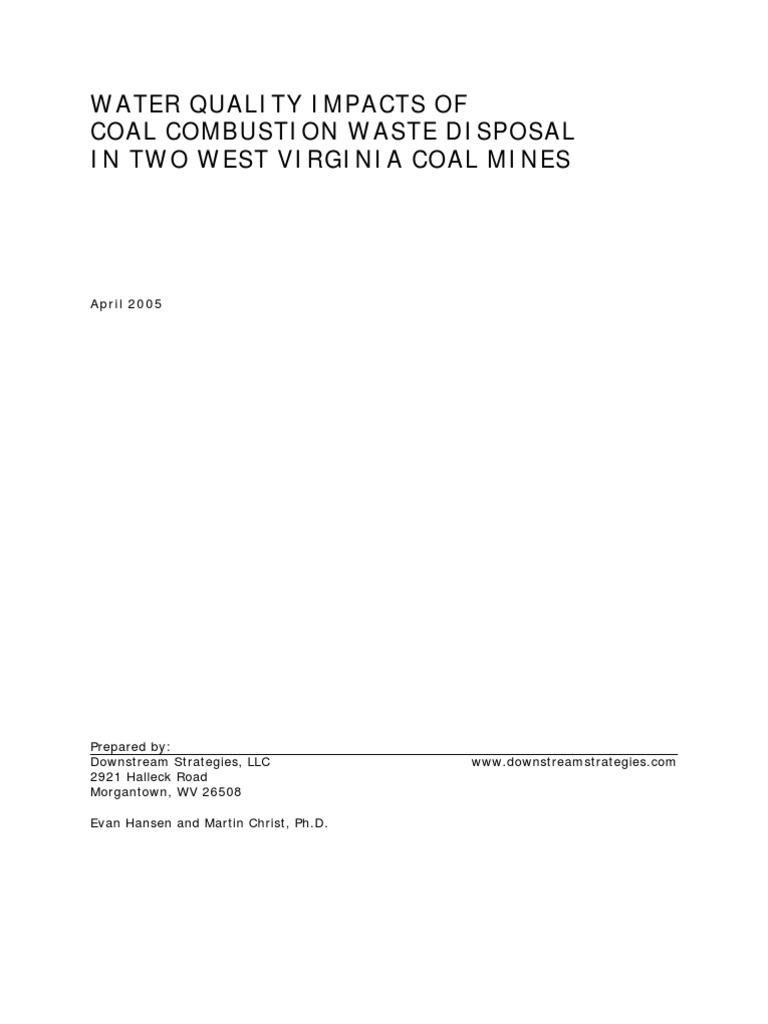 eart heat of combustion of borazine b3n3h6 docshare tips water quality impacts of coal combustion waste disposal in two west virginia coal mines