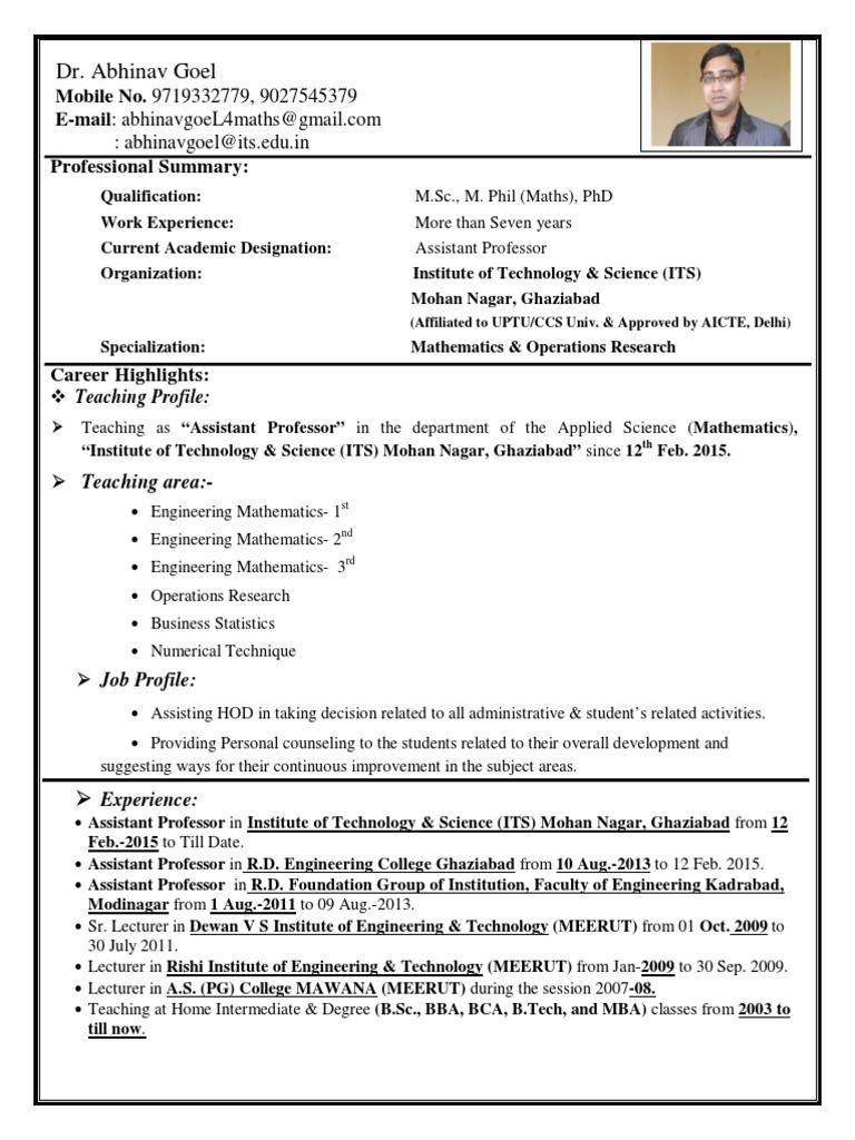 Dr Abhinav Goel Resume Docshare