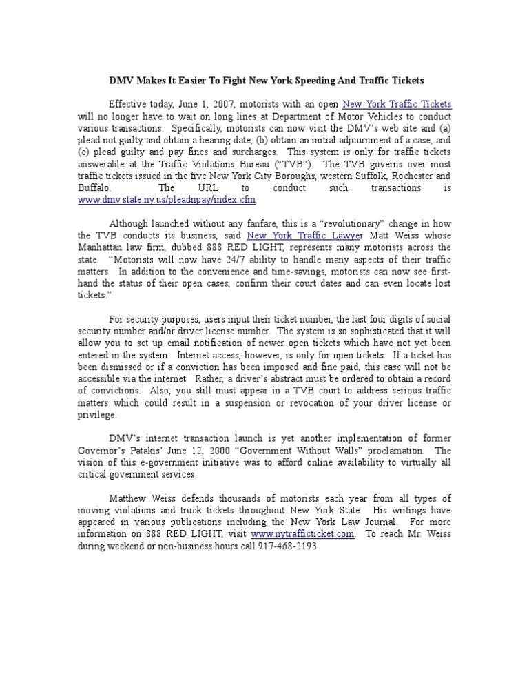 Traffic Ticket Nyc >> New York Traffic Ticket Dmv Launches Internet Transactions