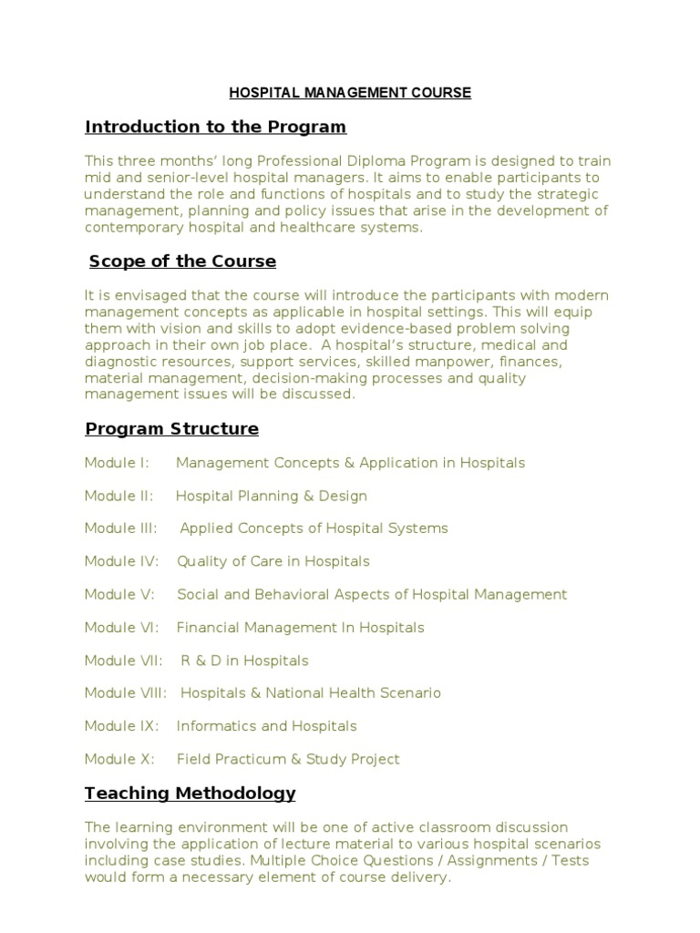 Hospital Management Course Nust - DocShare tips