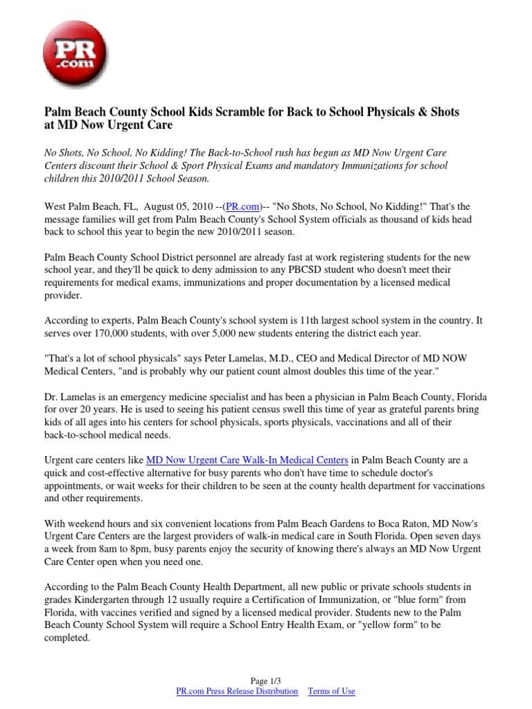 sports physical form palm beach county  Palm Beach County School Kids Scramble for Back to School ...