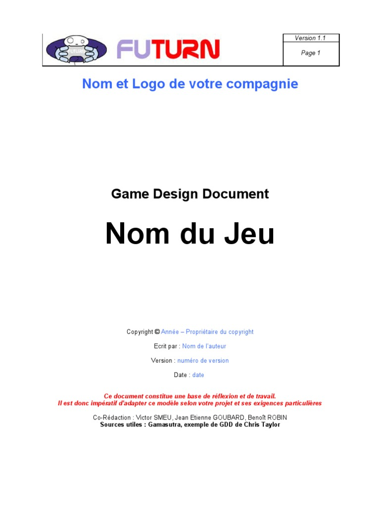 Download Game Design Document Futurn DocSharetips - Game design document download