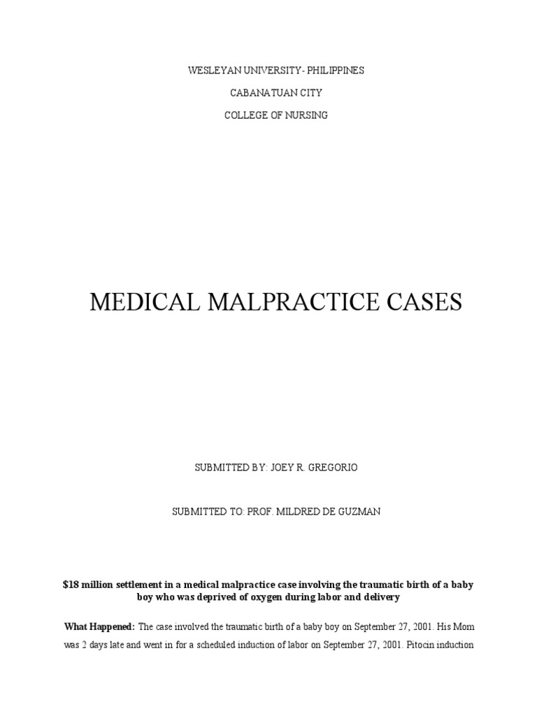 medical malpractice cases studies