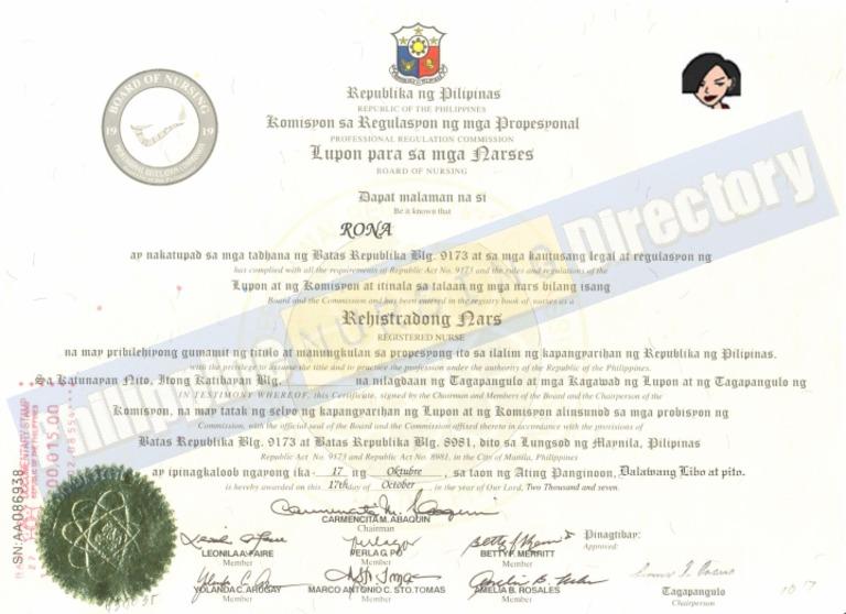 Download PRC Certificate of Board Passing (Registered Nurse ...