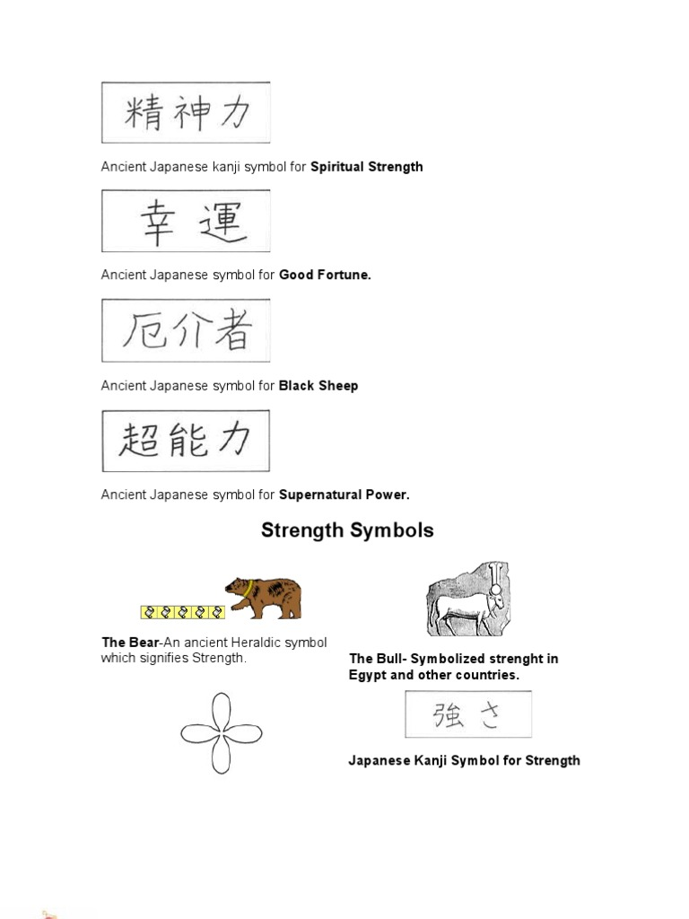 Ancient Japanese Kanji Symbol For Spiritual Strength Docshare