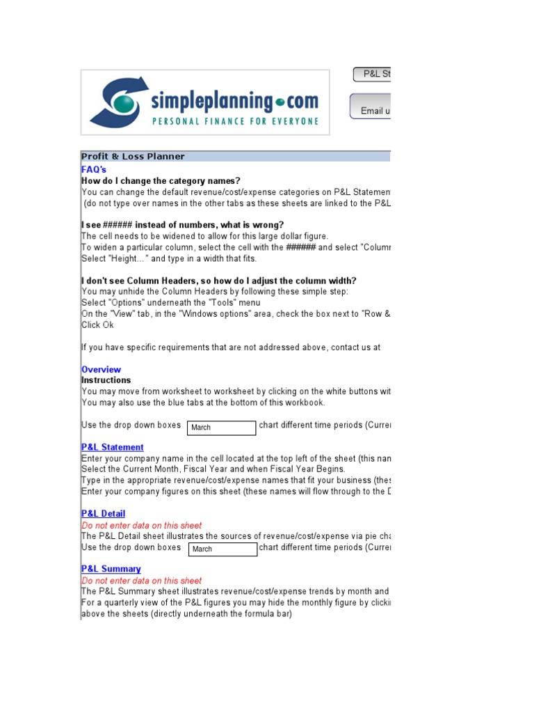 Profit U0026 Loss Planner_Demo