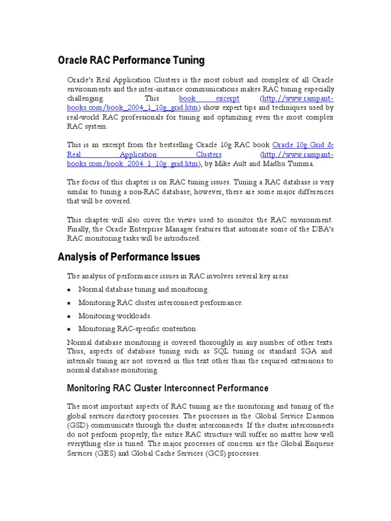 Download Oracle RAC Performance Tuning - DocShare.tips
