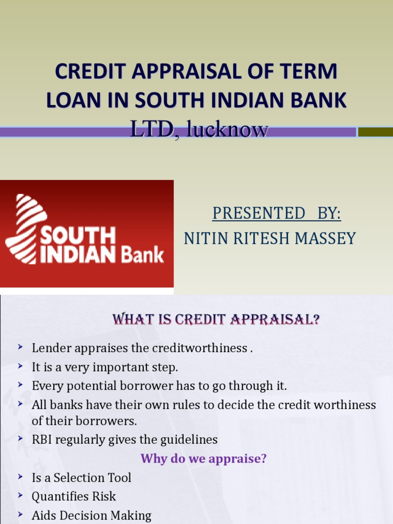 credit appraisal techniques in banks