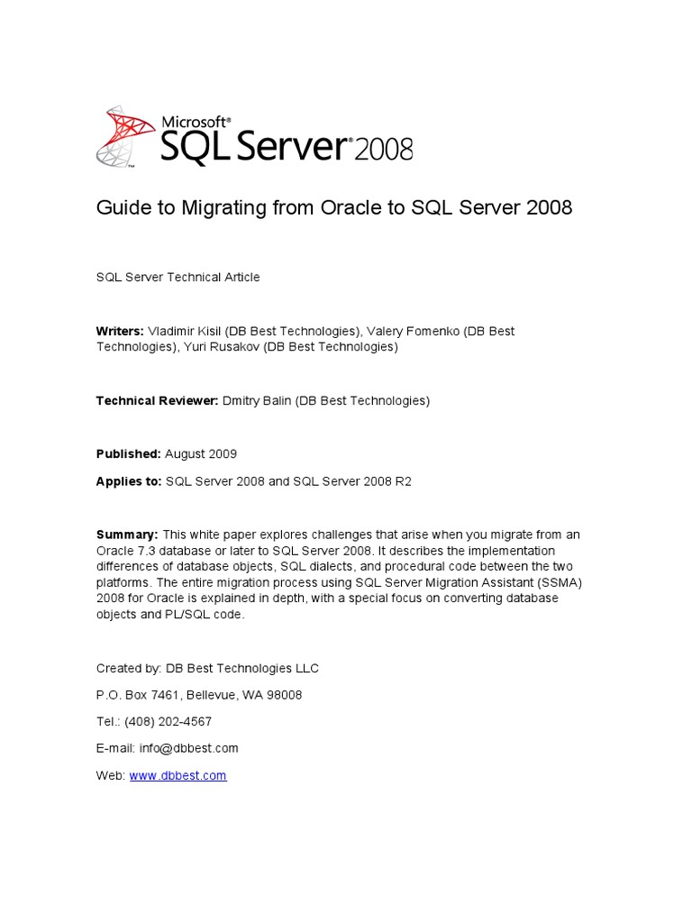 Migrate Oracle to SQL Server 2008 - DocShare tips