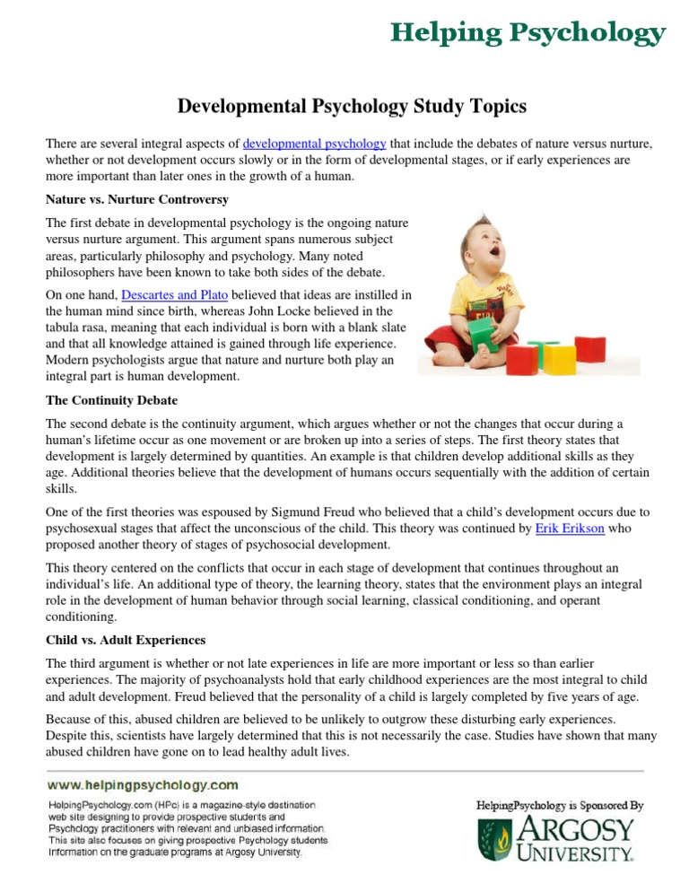 developmental psychology and study topic Psychology 111 study guide for exam 2  psychology is a very controversial topic because it relates to  developmental psychology is the scientific study.
