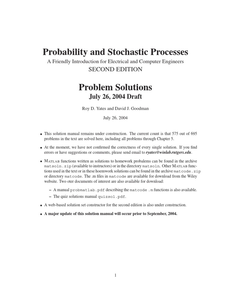 ... processes 2nd roy d rh docshare tips probability statistics and random  processes for electrical engineering 2nd edition solution manual probabilit