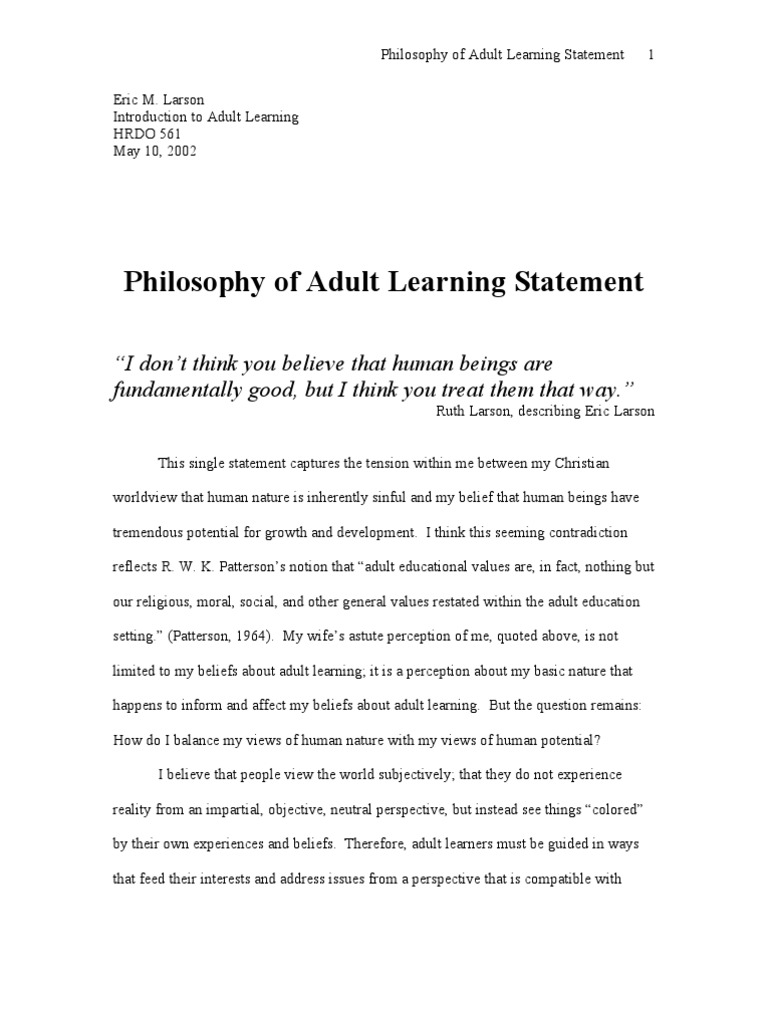 Sorry, Adult education philosophy