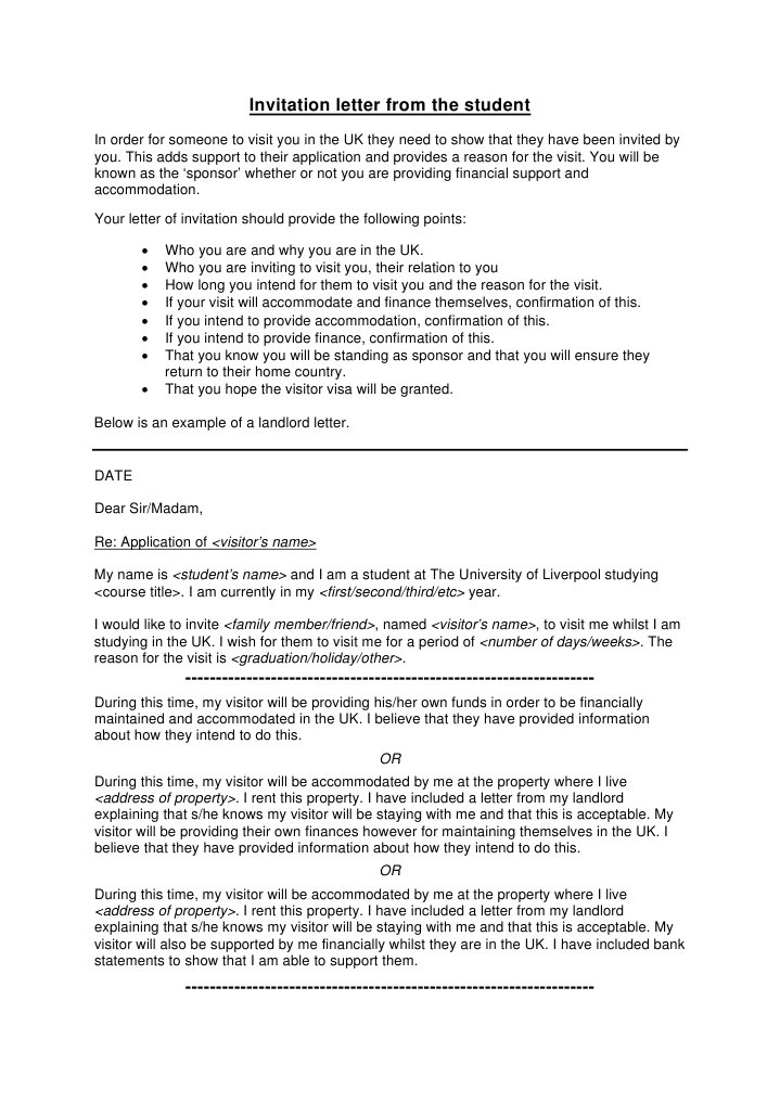 Visitor Visa - Invitation Letter From Student - DocShare tips