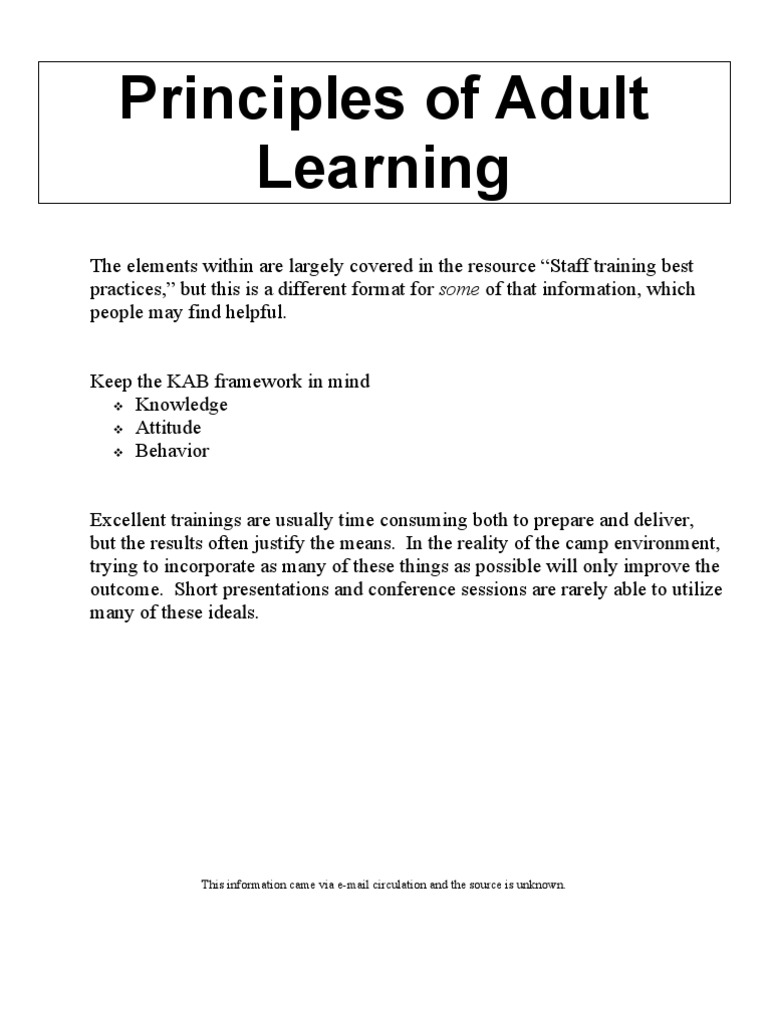 adult learning theory paper alt This paper largely focuses on its impact on learning, but the following aspects are also impacted: management and leadership the management and marshalling of resources to achieve desired outcomes is a significant challenge.