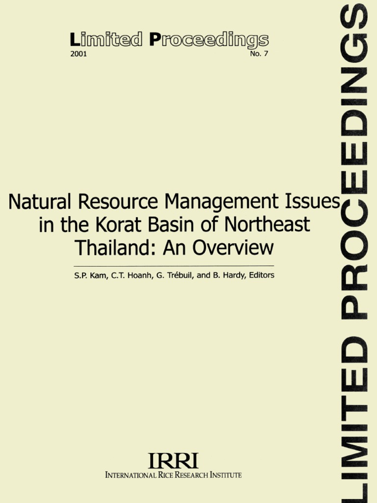 Natural Resources Management Issues in the Korat Basin of Northeast