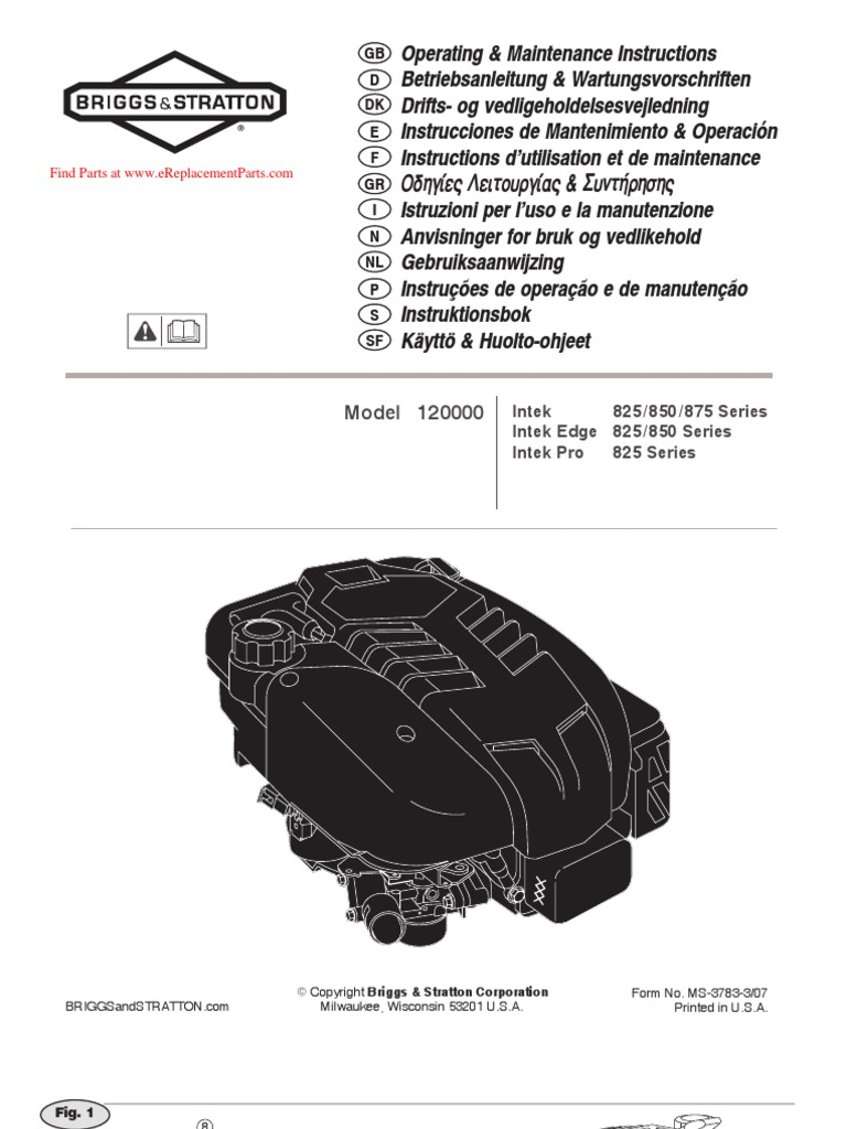 Download Briggs and Stratton Operating Manual Small Engines - DocShare.tips