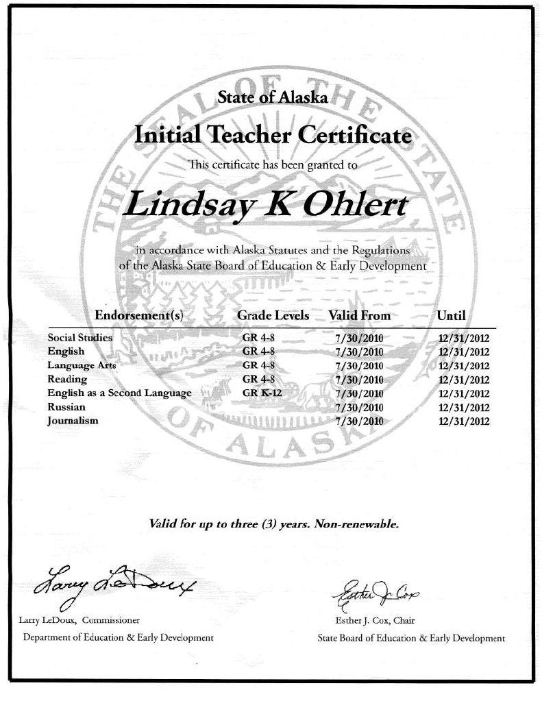 Alaska Teacher Certificate Docshare