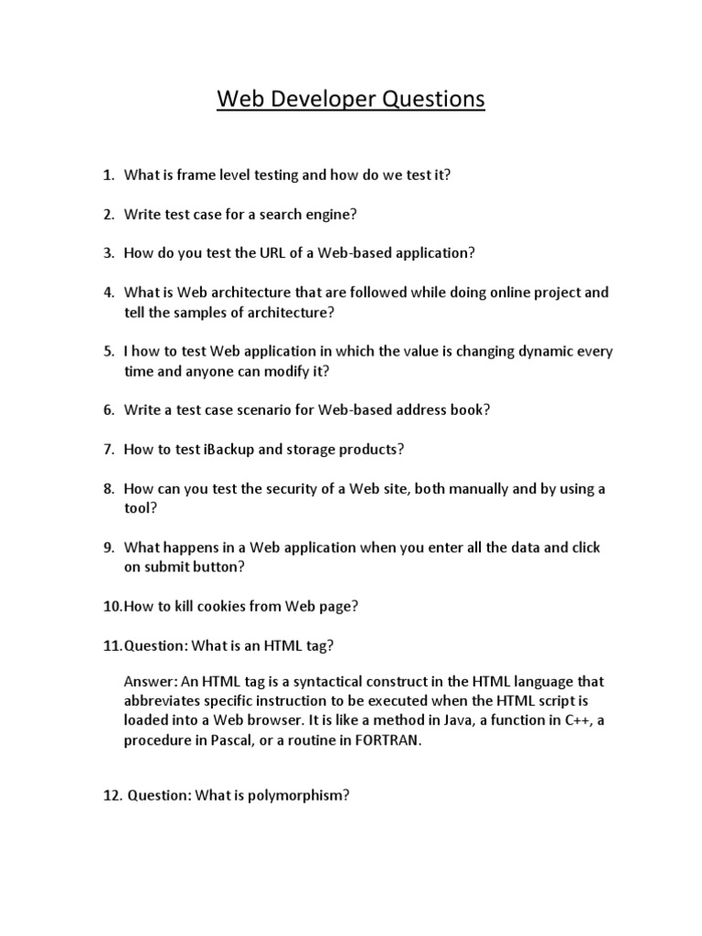 Download Web Developer Interview Questions - DocShare tips