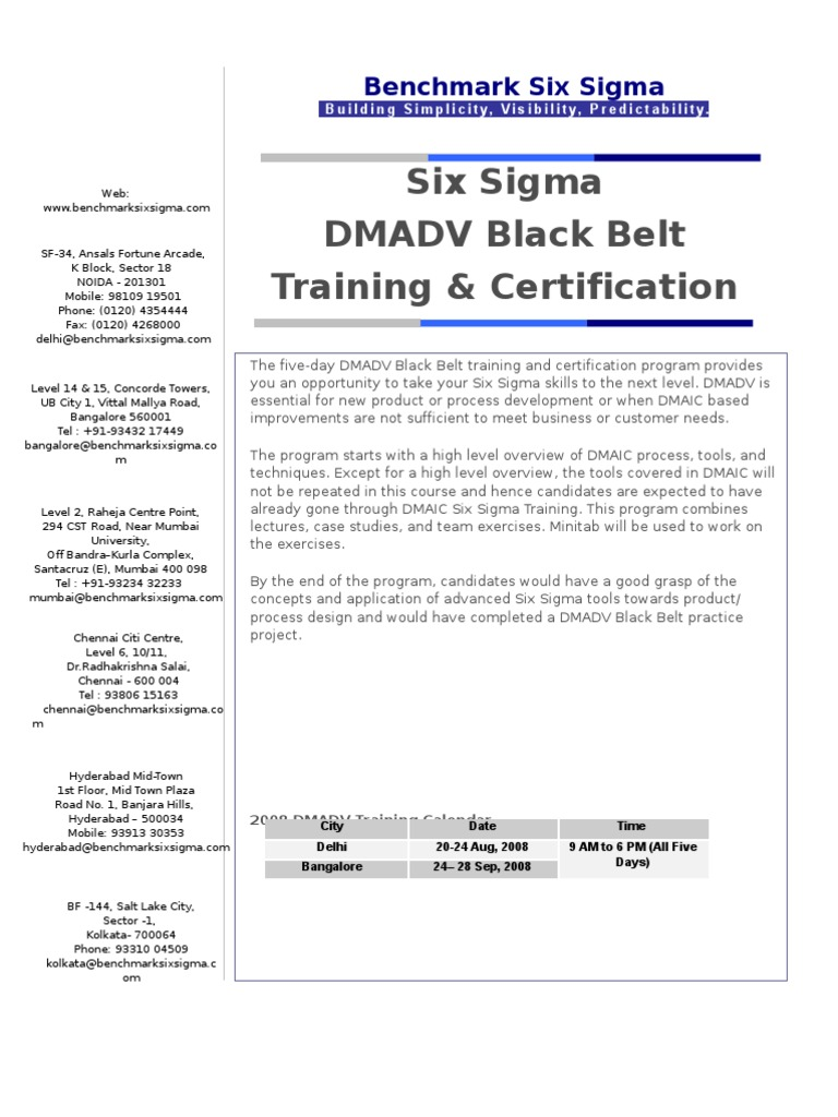 Download Benchmark Six Sigma Dfss Black Belt Certification