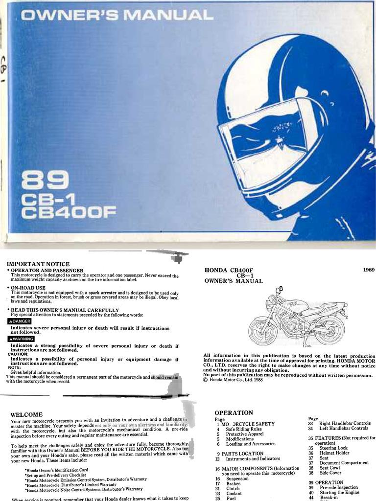 Honda CB 400F Owner's Manual