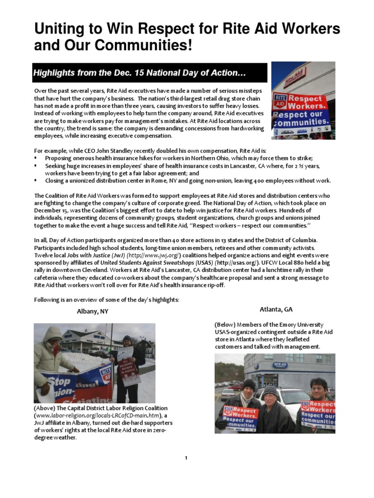 Wrap Up Report On National Day of Action to Support Rite Aid Workers ...