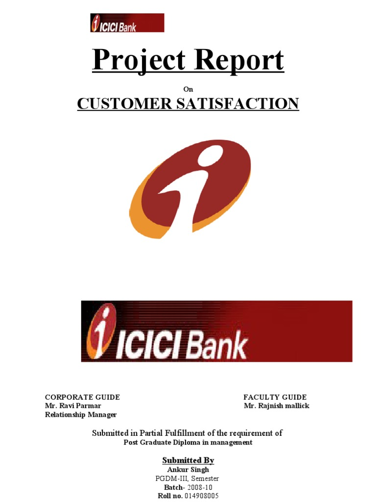 a project report on sbi and icici bank
