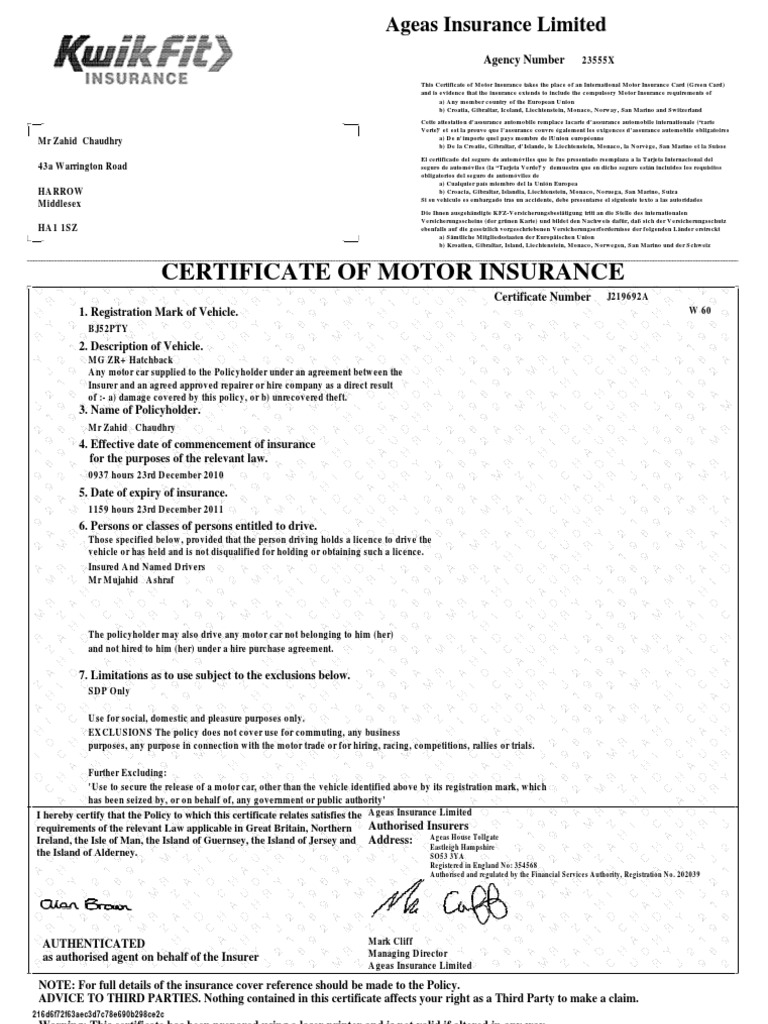Ageas Car Insurance >> Mg Certificate Docshare Tips