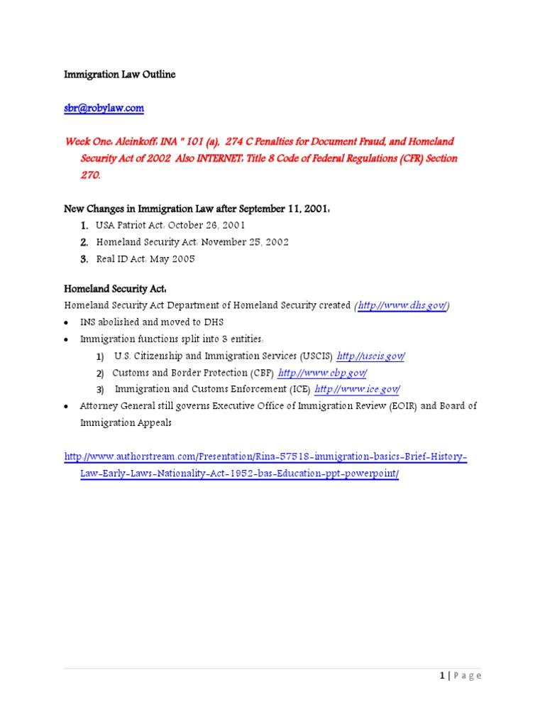 Immigration Law Outline Repaired) - DocShare tips
