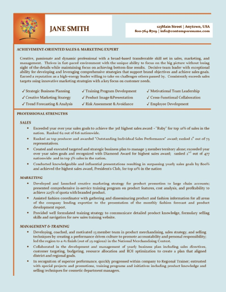 Download Sales-Marketing Creative Resume Sample 1 - DocShare.tips