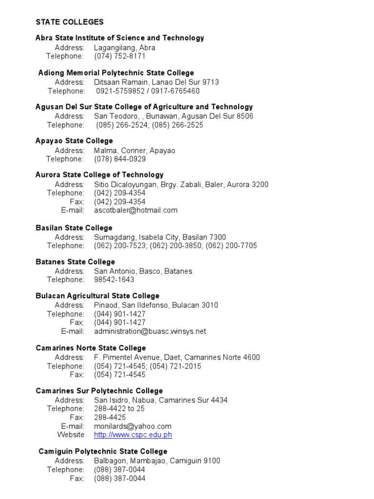 Complete List of CHED-Accredited Schools - State Colleges