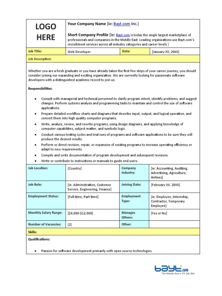 web developer job requirements
