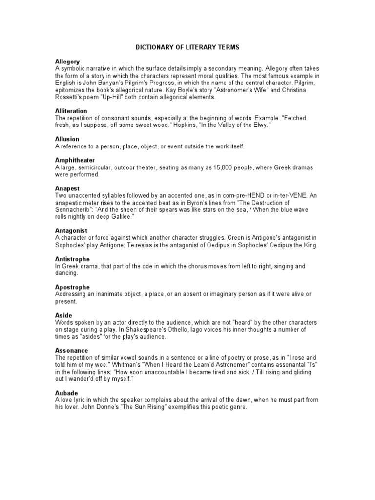 Download High School 245 Ap Literature Vocabulary Terms Docshare